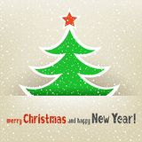 Christmas tree and snow card. The Christmas tree with red star on the light snow winter background Royalty Free Stock Photos