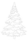 Christmas tree with snow, contour Royalty Free Stock Photo