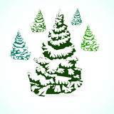 Christmas tree in the snow. 5 different shades of green Royalty Free Illustration