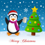 Christmas Tree, Snow & Drunk Penguin Stock Photography