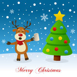 Christmas Tree, Snow & Drunk Reindeer Stock Images