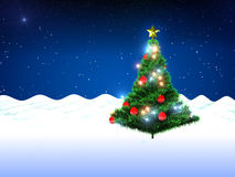 Christmas tree and snow. Christmas tree and falling snow on stars background.3d illustration Stock Photos