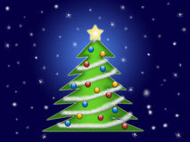 Christmas tree with snow flakes Royalty Free Stock Images