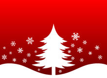 Christmas Tree and Snow flakes. Christmas tree with snow flakes and red background Stock Photography