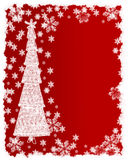 Christmas tree and snow flakes card royalty free stock photos