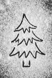 Christmas tree and snow from flour Royalty Free Stock Photography