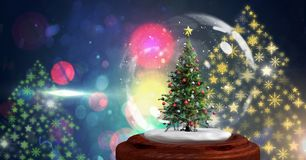 Christmas tree snow globe and Snowflake New Year Party lights colorful pattern shapes. Digital composite of Christmas tree snow globe and Snowflake New Year Royalty Free Stock Photography