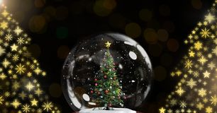 Christmas tree snow globe and Snowflake Christmas tree pattern shapes. Digital composite of Christmas tree snow globe and Snowflake Christmas tree pattern shapes Stock Photography
