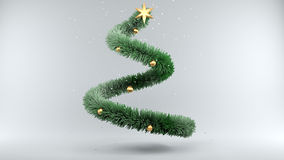 Christmas Tree with Snow on gray Background. 3d illustration Christmas Tree with Snow on gray Background Royalty Free Stock Photo