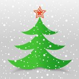 Christmas tree and snow gray background Royalty Free Stock Image