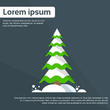 Christmas Tree With Snow Happy New Year Greeting Royalty Free Stock Photos