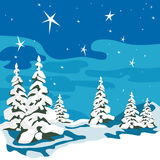 Christmas tree in snow hats. Winter background. Er night. Snow-covered trees in the forest. Vector illustration Stock Photography