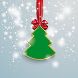 Christmas Tree Snow Lights Red Ribbon. Snow with stars, christmas tree and red ribbon on the grey background Stock Photo