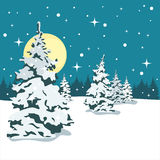 Christmas tree in the snow. The night and the moon. Snowy forest at night. It's snowing. Vector illustration Royalty Free Stock Photos