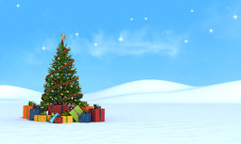 Christmas tree on snow - rendering vector illustration