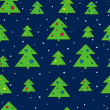 Christmas tree and snow seamless vector pattern. Christmas holidays print. Royalty Free Stock Photography