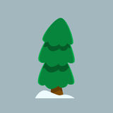 Christmas tree and snow in simple flat style. Christmas tree icon for design adn art in xmas style Stock Images