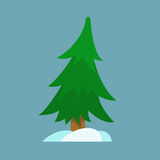 Christmas tree and snow in simple flat style. Christmas tree icon for design adn art in xmas style Royalty Free Stock Images