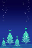 Christmas tree with snow sky background. Greeting card background Stock Photography
