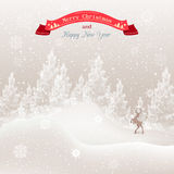Christmas tree in the snow and snowflakes Royalty Free Stock Photography