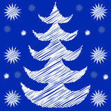 Christmas tree with snow. White Christmas tree with snowflakes and blue background Stock Photo