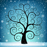 Christmas tree and snow. The Christmas tree on winter blue background with snow Royalty Free Stock Photos