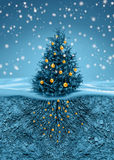 Christmas tree in snowfall, roots in soil beneath. Christmas tree with golden balls in snowfall, roots in soil beneath royalty free illustration