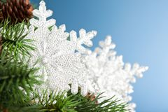 Christmas tree with snowflake Stock Photography