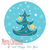 Christmas tree with snowflake. Christmas hand. Christmas vector greeting card with a tree decorated New Year's beads and ball. Hand drawn vecor icon on blue with Stock Photo
