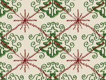 Christmas Tree Snowflake Doodle Pattern. Christmas Tree Red Snowflake on Cream Pattern Stock Photo
