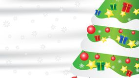 Christmas tree snowflake gift composition on white silk background with copy space for your text. stock images
