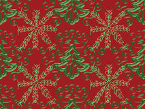 Christmas Tree Snowflake Pattern. Christmas Tree and Green Snowflake Pattern on Red Stock Image