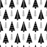 Christmas tree and snowflake vector seamless pattern. Stock Photo