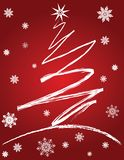 Christmas Tree and Snowflakes Royalty Free Stock Photography