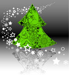 Christmas tree and snowflakes Stock Photography