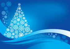 Christmas tree with snowflakes. Christmas tree and  background with snowflakes, vector Stock Photos