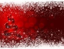 Christmas tree and snowflakes Stock Photos