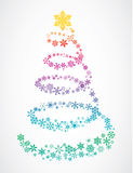 Christmas tree of snowflakes. Christmas tree abstract design made of snow flakes stock illustration