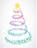 Christmas tree of snowflakes Stock Image