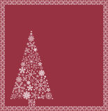 Christmas tree from snowflakes. Christmas tree and border from snowflakes Royalty Free Stock Images