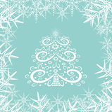 Christmas tree and snowflakes Stock Photo