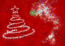 Christmas tree from snowflakes. The effect of a blizzard which draws a fur-tree Royalty Free Stock Images