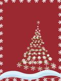 Christmas Tree Snowflakes. A Christmas Tree formed of Snowflakes, with a snowflake border and abstract elements vector illustration