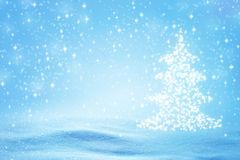 Christmas Tree with Snowflakes Background royalty free stock images