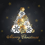 Christmas tree from snowflakes Stock Image