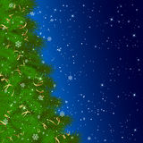 Christmas tree with snowflakes on blue background. Background with Christmas tree and falling snowflakes, illustration Royalty Free Stock Photography
