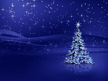 Christmas tree with snowflakes on blue background