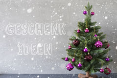 Christmas Tree, Snowflakes, Cement Wall, Geschenk Ideen Means Gift Ideas Stock Photo