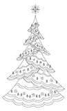 Christmas tree with snowflakes, contours Royalty Free Stock Images