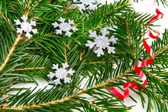 Christmas tree and snowflakes decorations Royalty Free Stock Photo